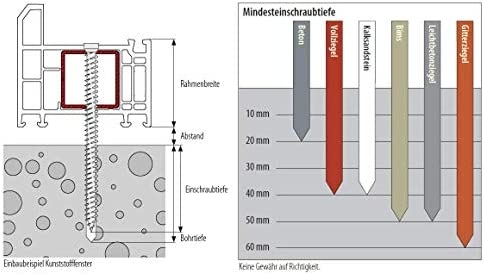7,5 x 132 Fensterrahmenschrauben Senkkopf Torx TX30 7,5 x 42-7,5 x 212 mm 100 St/ück