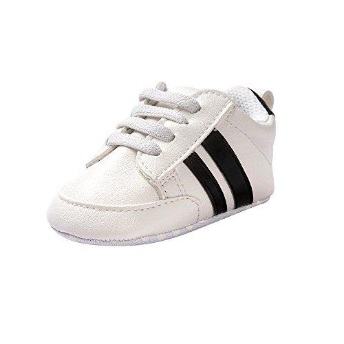 Fossen Zapatos de bebé calzado deportivo de cuero antideslizante inferior suave para niños pequeños infantiles Primeros pasos (6-12 meses, Negro)