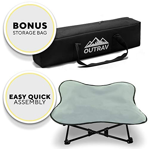Portable Elevated Dog Bed | Folding Pet Cot for Indoor, Outdoor, Traveling, Camping | Fold Up Steel Frame with Padded Cushion Canopy | Raised Travel Lounger for Large, Small, Dogs, Cats, up to 100 lb.