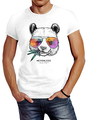 Neverless® Herren T-Shirt Panda Bär Aufdruck Tiermotiv Fashion Streetstyle weiß L