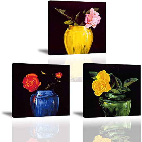 Piy Painting Cuadro Lienzo Moderno 3 Piezas, Flores Coloridas Pinturas Murales Decoración, Imágenes Arte de Pared Listo para Colgar Cuadros sobre el Lienzo con Sala Dormitorio, como Regalo 12x12in