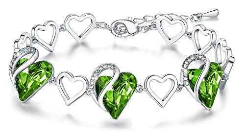 Leafael Mujer'Cristales del infinito amor del corazón pulsera hechos con Swarovski peridoto luz verde agosto Birthstone regalos de joyas, en tono plateado, 7' +2'