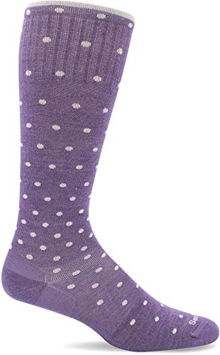 Sockwell Women's On the Spot Moderate Graduated Compression Sock, Plum Sparkle - S/M