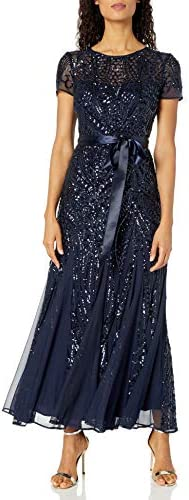 R M Richards Women s One Piece Short Sleeve Embelished Sequins Gown Navy 6 product image
