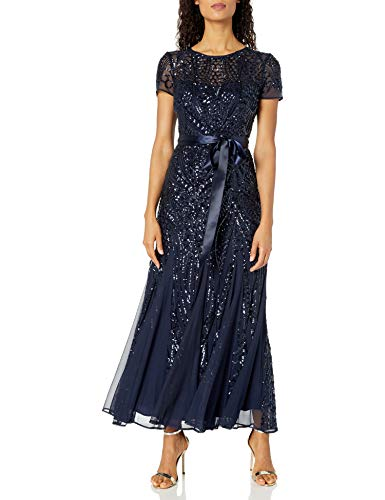 R&M Richards Women's One Piece Short Sleeve Embelished Sequins Gown, Navy, 12