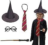 Disfraz Harry Potter Halloween, Gafas de Mago de Plástico, Varita, Corbata y Sombrero Negro de Bruja para Decoración Halloween, 4 Pcs (Modelo A)