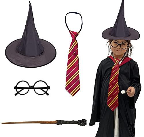Disfraz Harry Potter Halloween, Gafas de Mago de Plstico, Varita, Corbata y Sombrero Negro de Bruja para Decoracin Halloween, 4 Pcs (Modelo A)