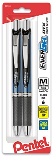 Pentel EnerGel Deluxe RTX Retractable Liquid Gel Pen, 0.7mm, Needle Tip, Black Ink, 2 pack (BLN77BP2A)