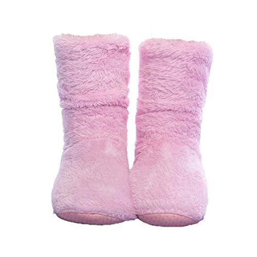 FRALOSHA Women's Slipper Sock Coral Velvet Indoor Spring-Autumn Super Soft Warm Cozy Fuzzy Lined Booties Slippers (27cm) Pink