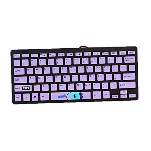 shengo Kpop BTS Kabelgebundene Business Tastatur für Windows, Linux und Chrome, USB-Anschluss, QWERTY Layout, Spritzwassergeschützt, PC/Laptop, BTS Geschenk für Army (Mang)