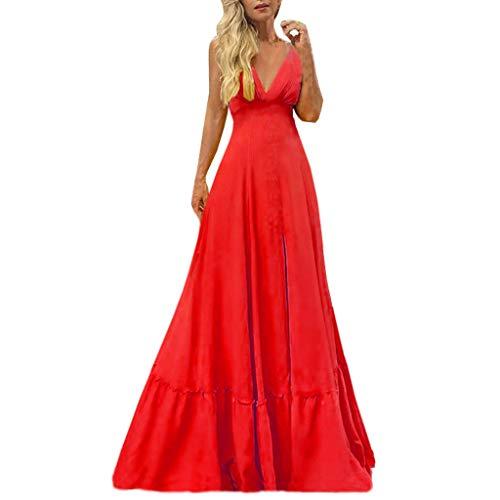 Damen Sling Kleid Kleid Volltonfarbe Schaukel V-Ausschnitt Mode Sommer ärmellose Gurt Volltonfarbe Sexy Cocktail Abendkleid Kleid Sonojie