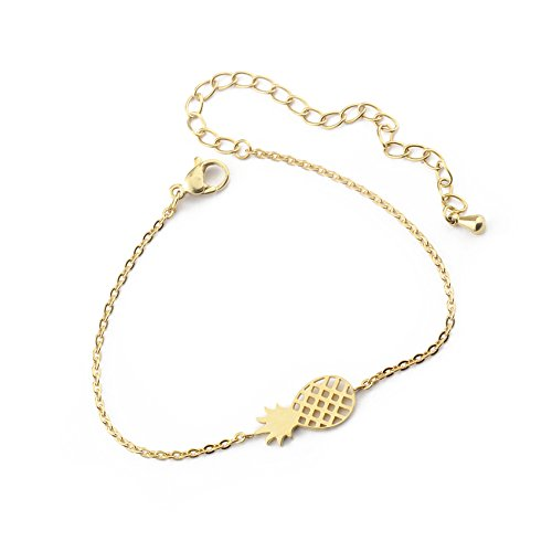 Phonillico Armband, fijne ketting, met bedel, ananas, goudkleurig, staal, modesieraad, modesieraad voor dames, schoonheid, grootte verstelbaar 15-21 cm