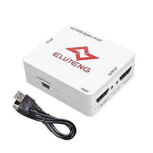 ELUTENG HDMI 分配器 4K HDMI セレクタ 2出力 HDCP対応 HDMI 1.4ver 切り替え器 3D Full HD HDMI Splitter 1×2 金メッキ端子 5Gbps帯域