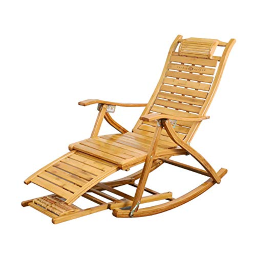 SGSG Mecedora de jardín Tumbona de bambú con reposapiés Estirable y Respaldo reclinable, Tumbona...