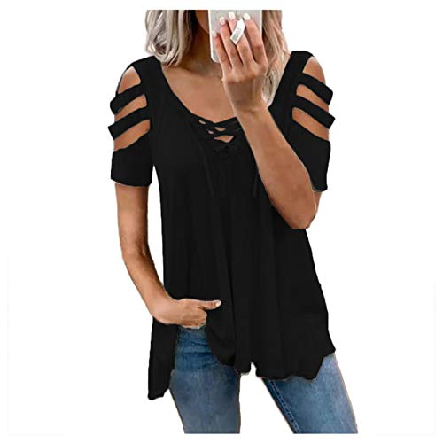 Women's Cute Contrast Collar Short Sleeve Casual Work Blouse Tops Vintage Tees Spring Blouses for Women 2021 Dress for Women Casual Summer Going Out Tops for Womens(@1-Black,XXL)(#1-Black,XXL)