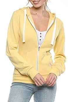 Womens Active Long Sleeve Fleece Zip Up Hoodie  Large B1 Solid Butter Yellow