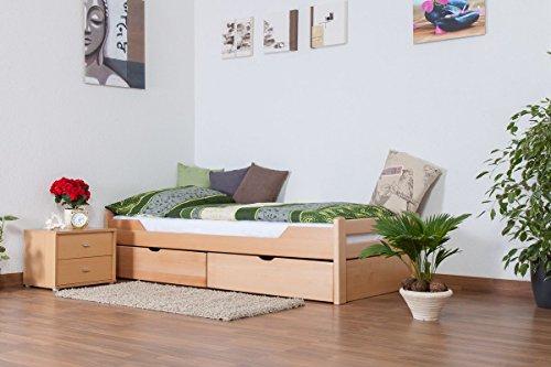 """Einzelbett/Funktionsbett\""""Easy Premium Line\"""" K1/1n inkl 2 Schubladen und 2 Abdeckblenden, 90 x 200 cm Buche Vollholz massiv Natur"""