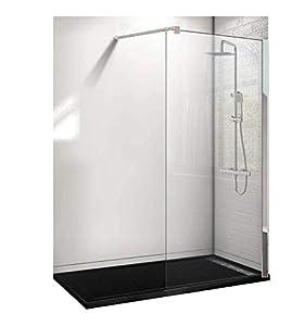 Conjunto de 3 PIEZAS: Plato de ducha de resina 160x70 Negro+ Panel fijo de cristal 90 cm+ Conjunto de ducha termostático
