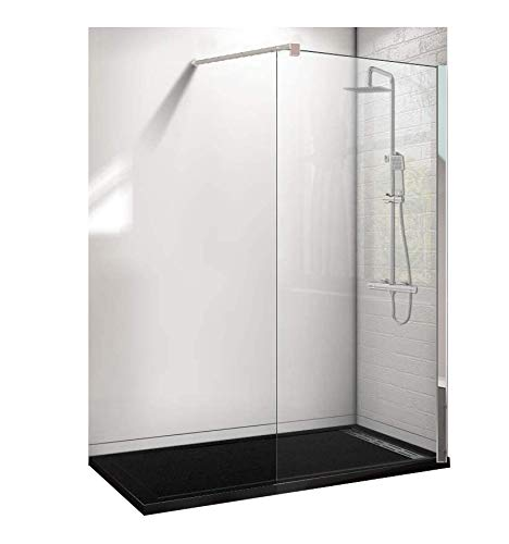 Conjunto de 3 PIEZAS: Plato de ducha de resina 180x70 Negro+ Panel fijo de cristal 90 cm+ Conjunto de ducha termostático
