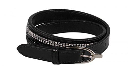 QHP Lack-Gürtel Las Vegas mit 3 oder 4 Reihen Strass-Steine (75 cm, Schwarz)