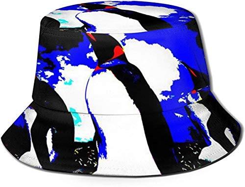 BONRI Flat Top atmungsaktive Eimer Hüte Unisex Pinguin Design Eimer Hut Sommer Fischerhut-Pinguin Art-One Size