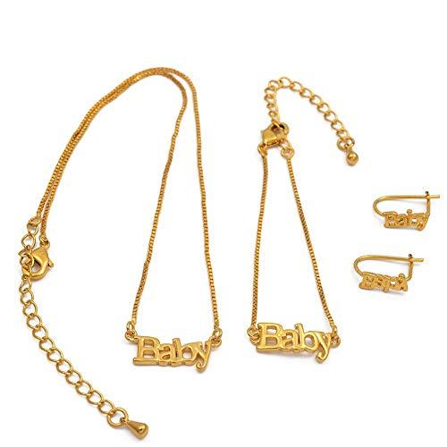 xtszlfj Joyería para bebé Collar de 30 cm y Pulseras de 13 cm Pendientes para niños Joyería de Color Dorado Regalos de cumpleaños para la Hija