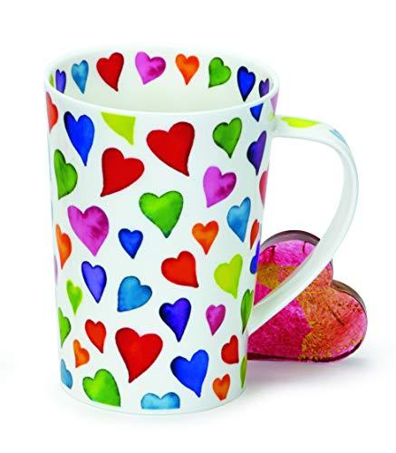 DUNOON Fine Bone China Kaffeebecher/Kaffeetasse warm Hearts| Bunte Herzen (Argyll)