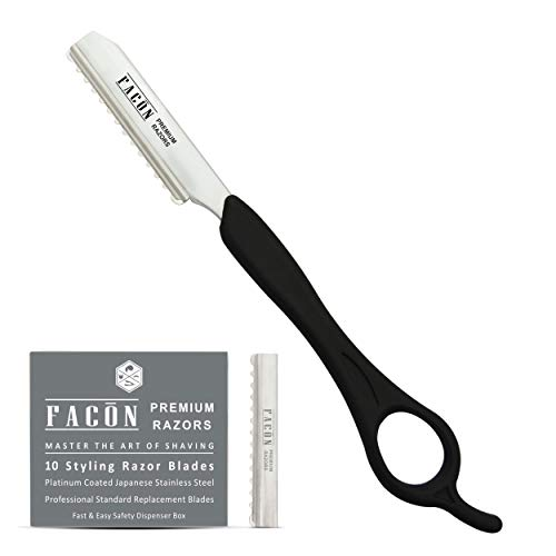 Facón Professional Hair Styling Thinning Texturizing Cutting Feather Razor + 10 Replacement Blades
