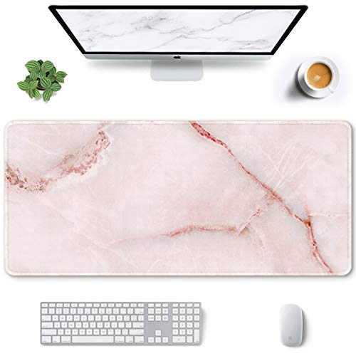 Auhoahsil Large Mouse Pad, Full Desk XXL Extended Gaming Mouse Pad 35' X 15', Waterproof Desk Mat w/Stitched Edges, Non-Slip Laptop Computer Keyboard Mousepad for Office and Home, Pink Marble Design