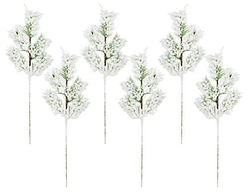 AuldHome Flocked Evergreen Greenery Picks (6-Pack); Snow Frosted Christmas Decor Floral Stems for Wreaths, Vases and Holiday Floral Arrangement