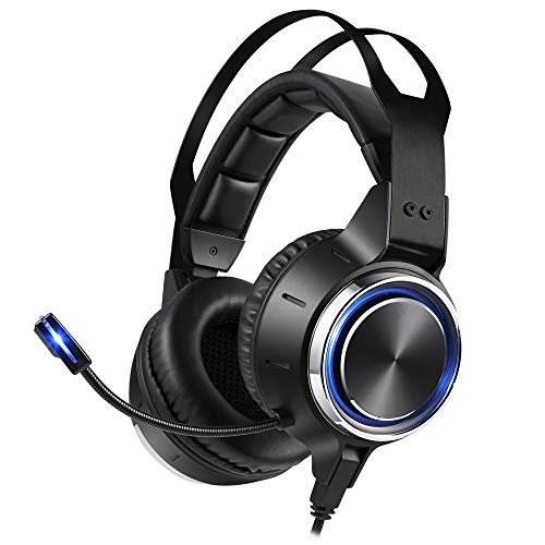 MUCXI Los auriculares llevados auriculares de juegos emisores de luz, PC, videojuegos, computadoras portátiles, Mac, teléfonos inteligentes con micrófonos de cancelación de ruido, orejeras suaves, son