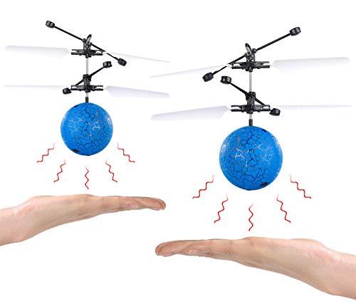 Simulus Fliegender Ball: 2er-Set Selbstfliegende Hubschrauber-Bälle mit bunter LED-Beleuchtung (Flying Ball)