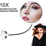 XOOLOVER 10X Vanity Mirror Magnifying Makeup Mirror,Lighted Makeup Mirror Bathroom Flexible Mirror│Strong Suction