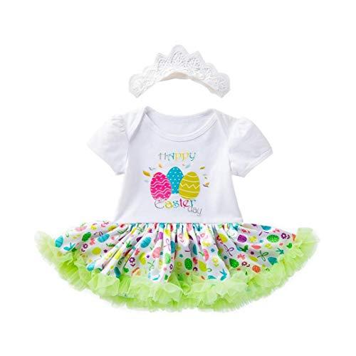 lulongyansf Huevos de Pascua de los bebés Trajes del Vestido del Traje del Mameluco del tutú de Manga Corta con Hairband 66cm 2Pcsclothing