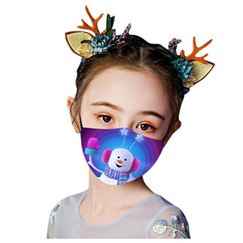 Christmas Face Masks, Santa Claus Snowman Reindeer Print, Comfort Mouth Cover Reusable Washable Cute Face Neck Gaiter