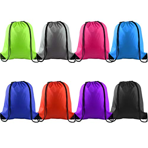 KUUQA 8Pcs Drawstring Backpack Bags String Bag Cinch Sackpack Tote Gym Bag