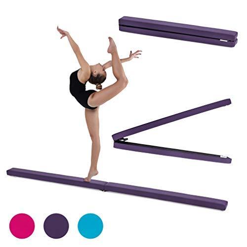 Fun!ture 7ft Klappgymnastik Schwebebalken | Kunstleder | Kinder Fitness Training | Krafttra (Lila)