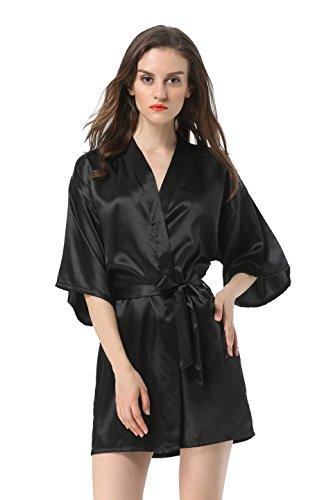 Women's Satin Plain Short Kimono Robe Bathrobe, Medium, Black