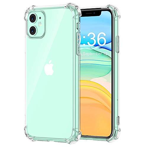 REY - Funda Anti-Shock Gel Transparente para iPhone 11, Ultra Fina 0,33mm, Esquinas Reforzadas, Silicona TPU de Alta Resistencia y Flexibilidad