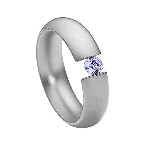 Heideman Ring Damen Intensio aus Edelstahl Silber farbend matt Damenring für Frauen mit Swarovski Stein Zirkonia lila im Brillant Schliff 4mm