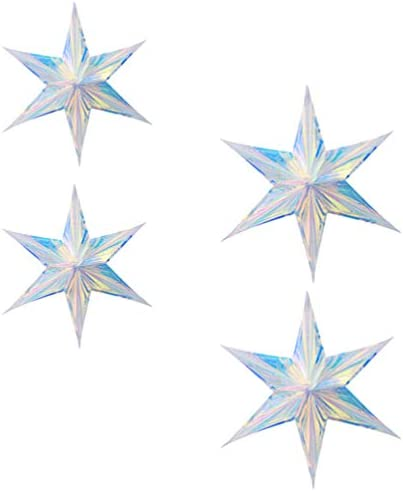 WINOMO 4pcs Paper Star Lantern Iridescent Ornament 6 Pointed Star Lampshade Pentagram Lamp Shade product image
