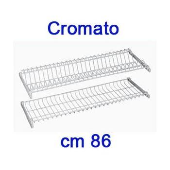 SCOLAPIATTI CM86 COPPIA RETE CROMATA PORTAPIATTI PENSILE  VASCHETTA IN PLASTICA