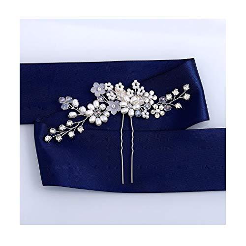 IYOU Brautschmuck Hochzeit Haarnadeln Silber glitzernde Kristall Haarspange Blatt Perle Haarteil Braut Blume Haarschmuck für Frauen und Mädchen 2 Stück (Silber)