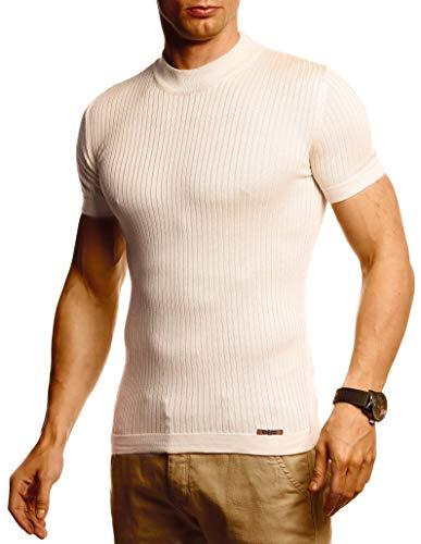 Leif Nelson Herren Sommer T-Shirt Rundhals Ausschnitt Slim Fit aus Feinstrick Cooles Basic Männer T-Shirt Crew Neck Jungen Kurzarmshirt O-Neck Sweater Shirt Kurzarm Lang LN20768 Beige X-Large
