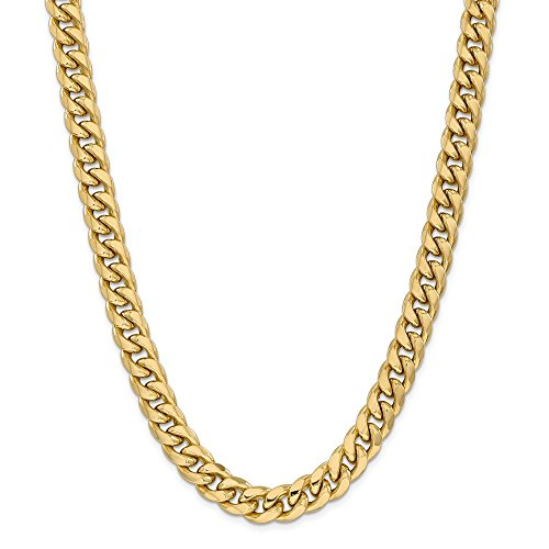 14k Yellow Gold 11mm Miami Cuban Chain Necklace 26 Inch Pendant Charm Curb Fine Jewellery For Women Mothers Day Gifts For Her