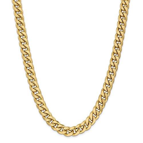 Collana in oro giallo 14 kt, 11 mm, semi solida, catena cubana da 66 cm, per uomo e donna