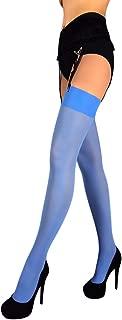 Thigh High Stockings Pantyhose for Garter Belt Opaque Microfiber 40 Den for Women