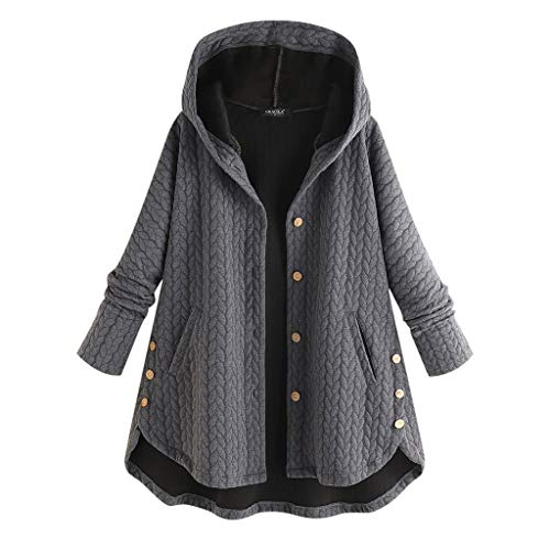 Alough Women Coat Plus Size Casual Button Pockets Warm High Low Long Sleeve Hooded Jacket Winter Fall Snow 5x Coats