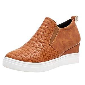 YWLINK Casual Zapatos Mujer Zapatos Planos TamañO Grande CuñA Botines con Cremallera Zapatos De Cabeza Redonda Antideslizante Transpirable Zapatillas Deporte Fiesta Playa Viajes Regalo(marrón,38EU)