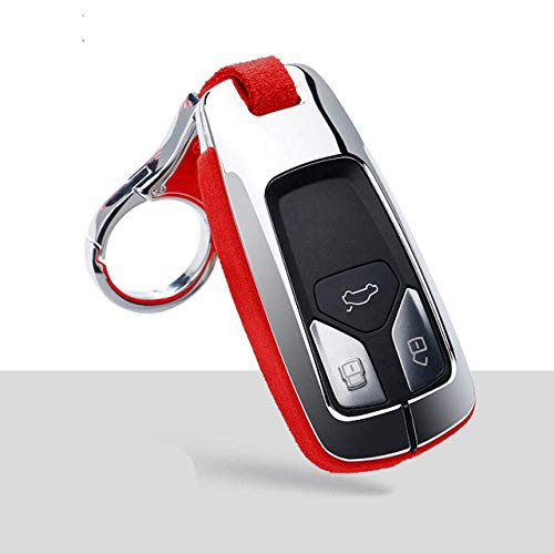 Car Accessories Key Shells,Car Key Cover Case Keychain , Car Key Protection Case Cover, Compatible With Audi A4 B9 Q5 Q7 Tt Tts 8S Car Smart Remote Key Shell,B,Red Keychain 1B-Red Keychain 1